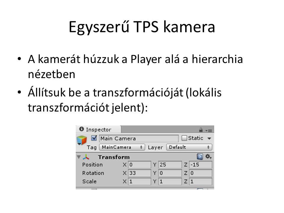 Egyszerű TPS kamera A kamerát húzzuk a Player alá a hierarchia nézetben Állítsuk be a transzformációját (lokális transzformációt jelent):