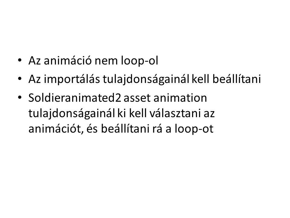 Az animáció nem loop-ol Az importálás tulajdonságainál kell beállítani Soldieranimated2 asset animation tulajdonságainál ki kell választani az animációt, és beállítani rá a loop-ot