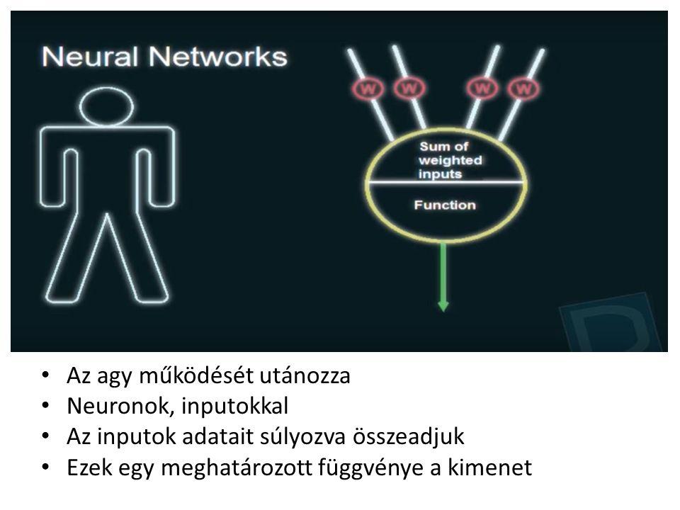Az agy működését utánozza Neuronok, inputokkal Az inputok adatait súlyozva összeadjuk Ezek egy meghatározott függvénye a kimenet