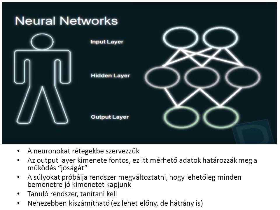 A neuronokat rétegekbe szervezzük Az output layer kimenete fontos, ez itt mérhető adatok határozzák meg a működés jóságát A súlyokat próbálja rendszer megváltoztatni, hogy lehetőleg minden bemenetre jó kimenetet kapjunk Tanuló rendszer, tanítani kell Nehezebben kiszámítható (ez lehet előny, de hátrány is)