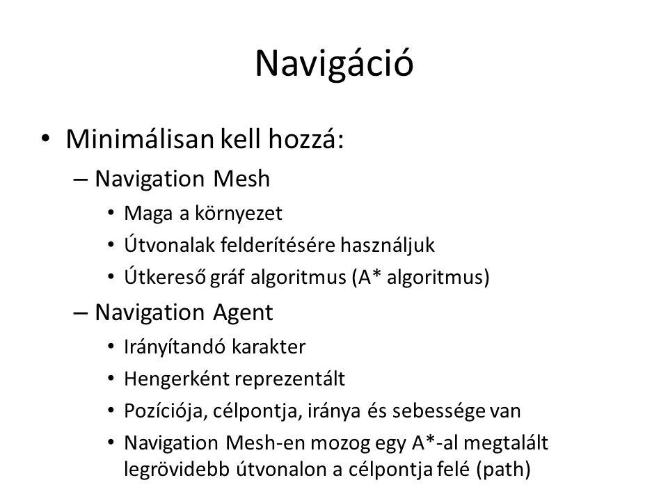 Navigáció Minimálisan kell hozzá: – Navigation Mesh Maga a környezet Útvonalak felderítésére használjuk Útkereső gráf algoritmus (A* algoritmus) – Navigation Agent Irányítandó karakter Hengerként reprezentált Pozíciója, célpontja, iránya és sebessége van Navigation Mesh-en mozog egy A*-al megtalált legrövidebb útvonalon a célpontja felé (path)