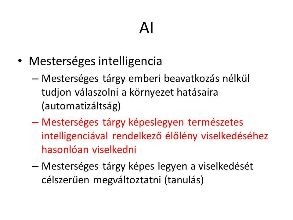 AI Mesterséges intelligencia – Mesterséges tárgy emberi beavatkozás nélkül tudjon válaszolni a környezet hatásaira (automatizáltság) – Mesterséges tárgy képeslegyen természetes intelligenciával rendelkező élőlény viselkedéséhez hasonlóan viselkedni – Mesterséges tárgy képes legyen a viselkedését célszerűen megváltoztatni (tanulás)