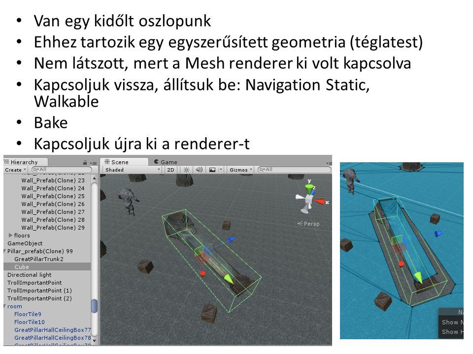 Van egy kidőlt oszlopunk Ehhez tartozik egy egyszerűsített geometria (téglatest) Nem látszott, mert a Mesh renderer ki volt kapcsolva Kapcsoljuk vissza, állítsuk be: Navigation Static, Walkable Bake Kapcsoljuk újra ki a renderer-t