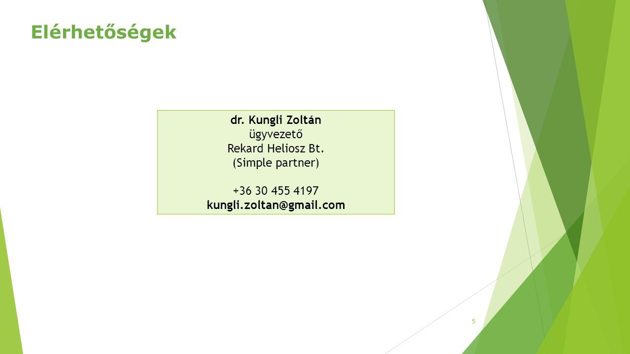 5 dr. Kungli Zoltán ügyvezető Rekard Heliosz Bt. (Simple partner) +36 30 455 4197 kungli.zoltan@gmail.com Elérhetőségek