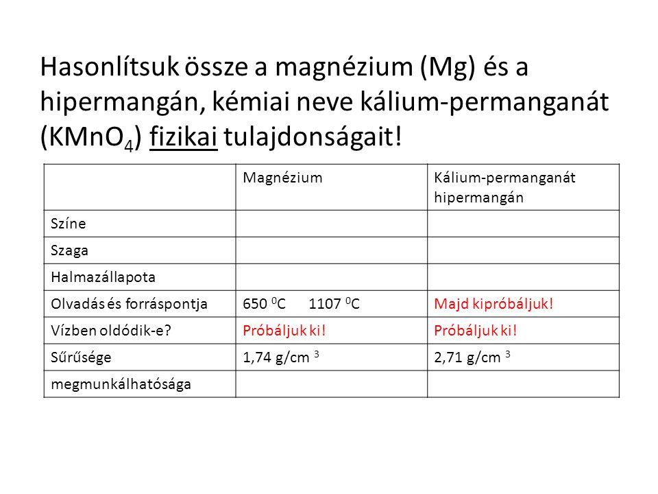 MagnéziumKálium-permanganát hipermangán SzíneEzüstszürkelilásszürke Szagaszagtalan Halmazállapotaszilárd Olvadás és forráspontja650 0 C 1107 0 CMajd kipróbáljuk.