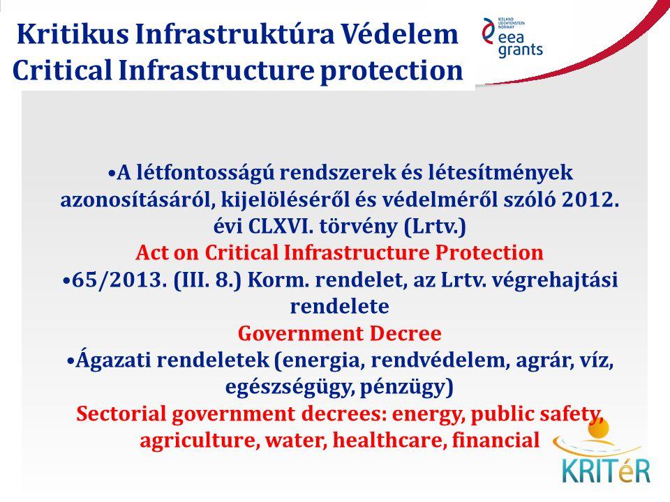 Kritikus Infrastruktúra Védelem Critical Infrastructure protection A létfontosságú rendszerek és létesítmények azonosításáról, kijelöléséről és védelméről szóló 2012.
