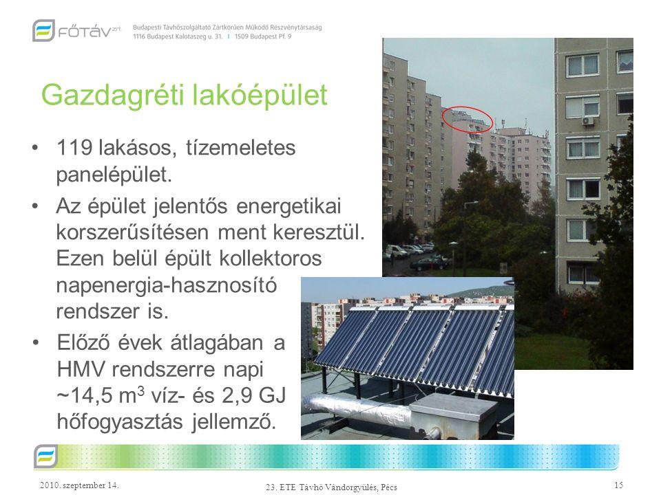 2010. szeptember 14.15 23. ETE Távhő Vándorgyűlés, Pécs Gazdagréti lakóépület 119 lakásos, tízemeletes panelépület. Az épület jelentős energetikai kor