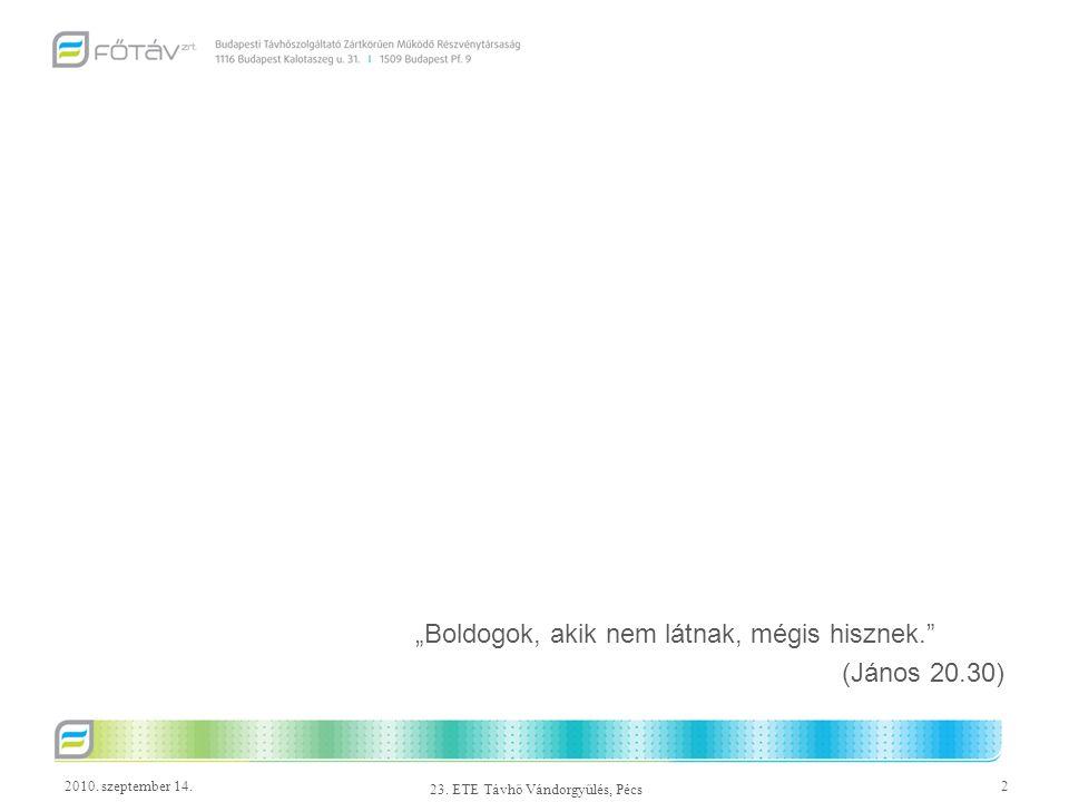 2010. szeptember 14.13 23. ETE Távhő Vándorgyűlés, Pécs HMV távhőfajlagos alakulása