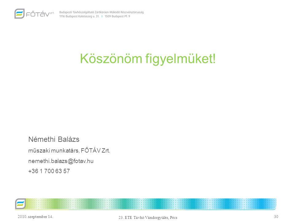 2010. szeptember 14.30 23. ETE Távhő Vándorgyűlés, Pécs Köszönöm figyelmüket! Némethi Balázs műszaki munkatárs, FŐTÁV Zrt. nemethi.balazs@fotav.hu +36