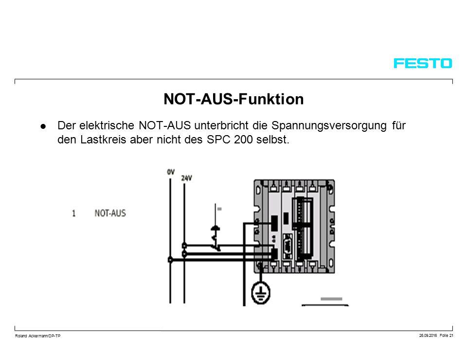 26.09.2016 Folie 21 Roland Ackermann/DP-TP NOT-AUS-Funktion Der elektrische NOT-AUS unterbricht die Spannungsversorgung für den Lastkreis aber nicht des SPC 200 selbst.