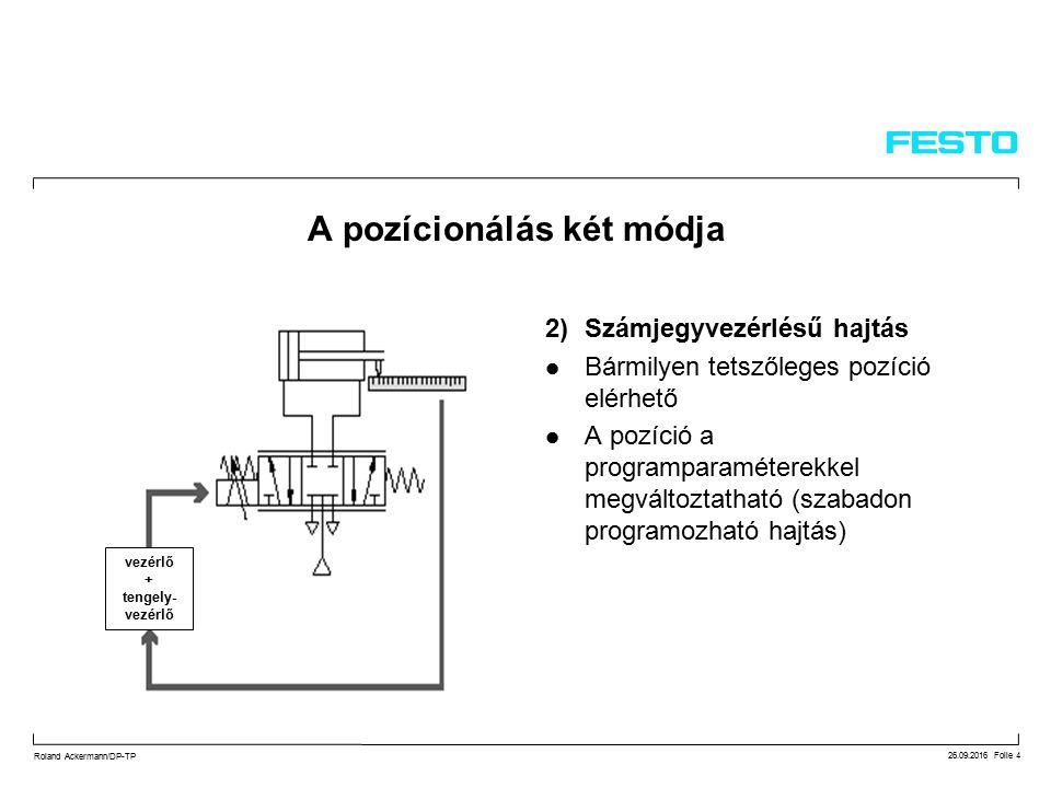26.09.2016 Folie 4 Roland Ackermann/DP-TP A pozícionálás két módja 2)Számjegyvezérlésű hajtás Bármilyen tetszőleges pozíció elérhető A pozíció a programparaméterekkel megváltoztatható (szabadon programozható hajtás) vezérlő + tengely- vezérlő