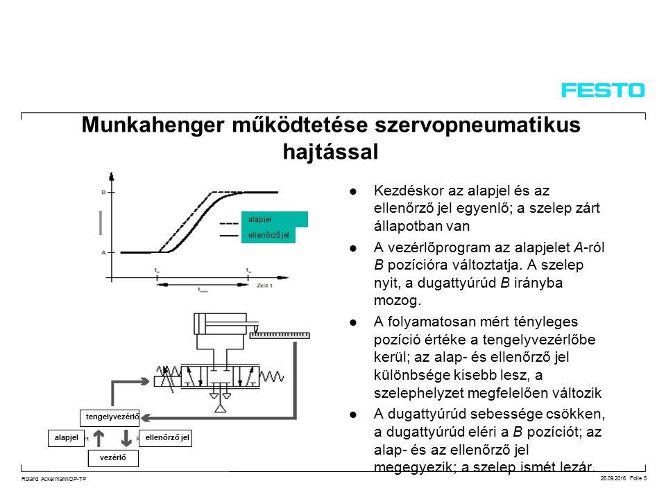 26.09.2016 Folie 5 Roland Ackermann/DP-TP Munkahenger működtetése szervopneumatikus hajtással Kezdéskor az alapjel és az ellenőrző jel egyenlő; a szelep zárt állapotban van A vezérlőprogram az alapjelet A-ról B pozícióra változtatja.