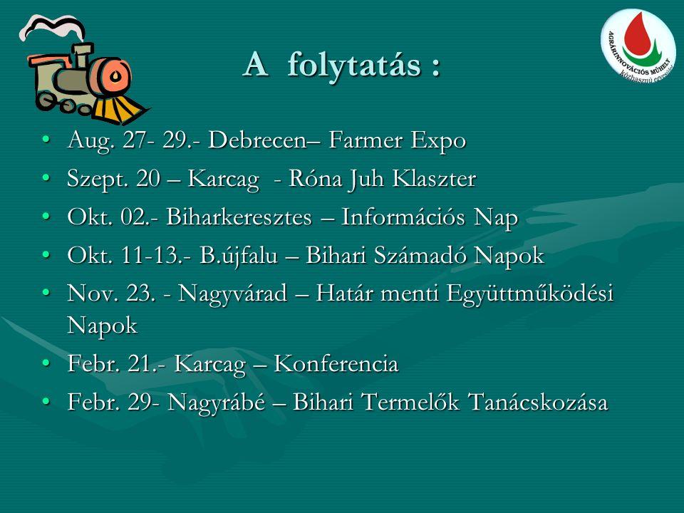 A folytatás : Aug. 27- 29.- Debrecen– Farmer ExpoAug. 27- 29.- Debrecen– Farmer Expo Szept. 20 – Karcag - Róna Juh KlaszterSzept. 20 – Karcag - Róna J