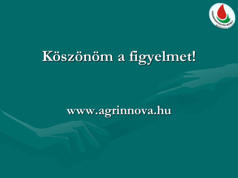 Köszönöm a figyelmet! www.agrinnova.hu