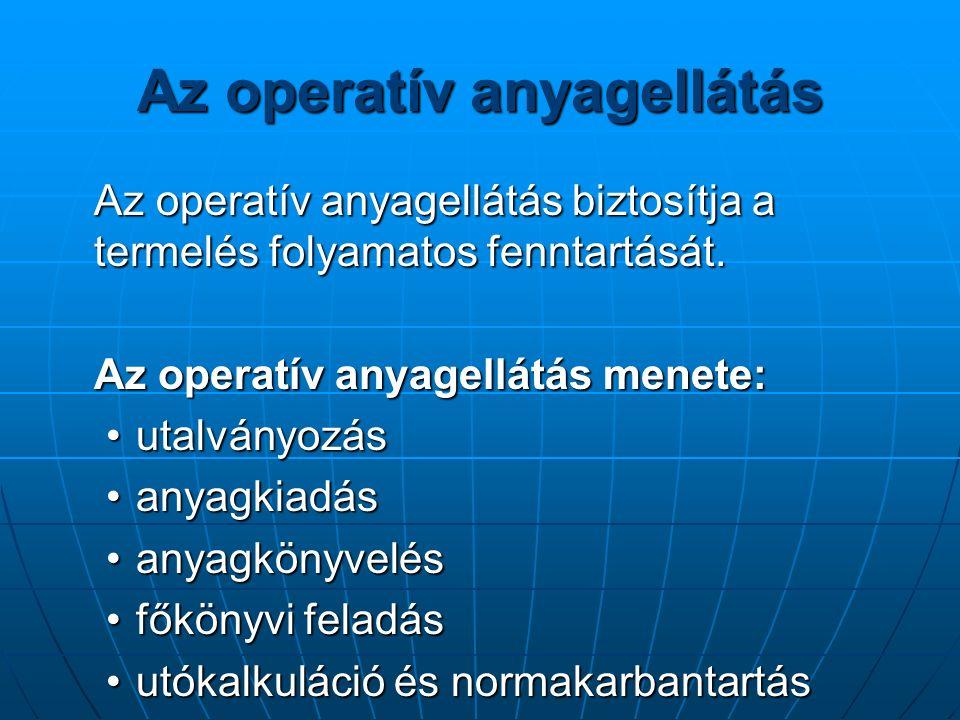 Az operatív anyagellátás Az operatív anyagellátás biztosítja a termelés folyamatos fenntartását.