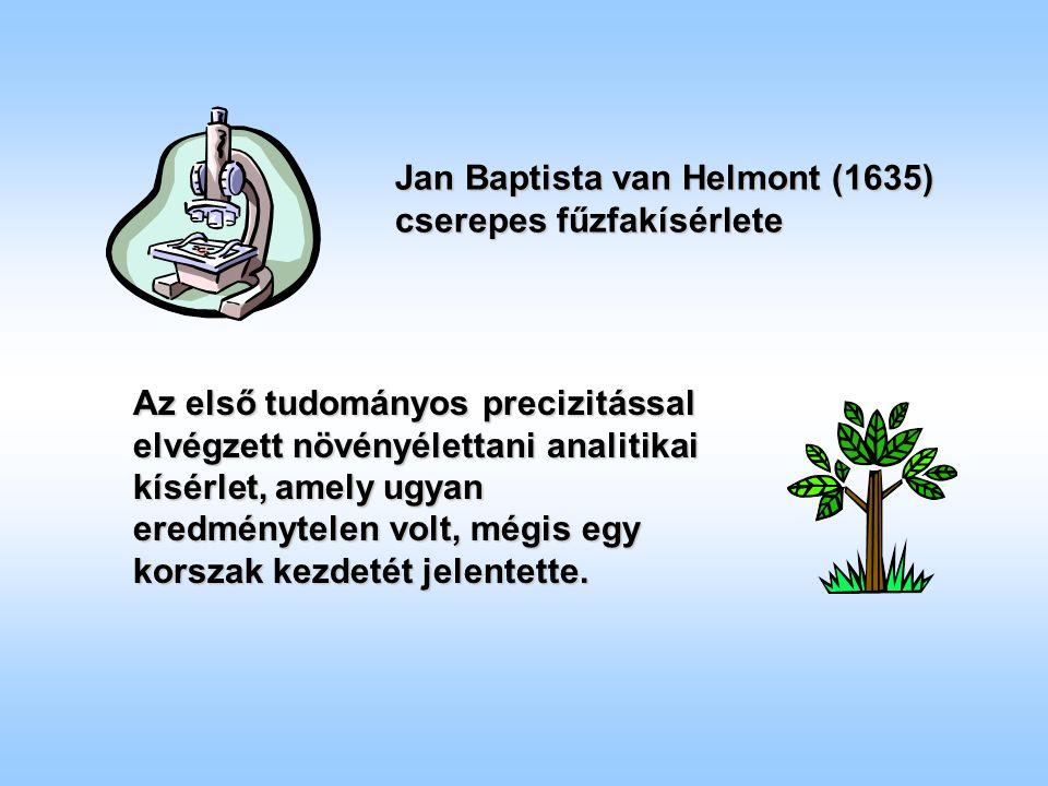 Jan Baptista van Helmont (1635) cserepes fűzfakísérlete Az első tudományos precizitással elvégzett növényélettani analitikai kísérlet, amely ugyan eredménytelen volt, mégis egy korszak kezdetét jelentette.
