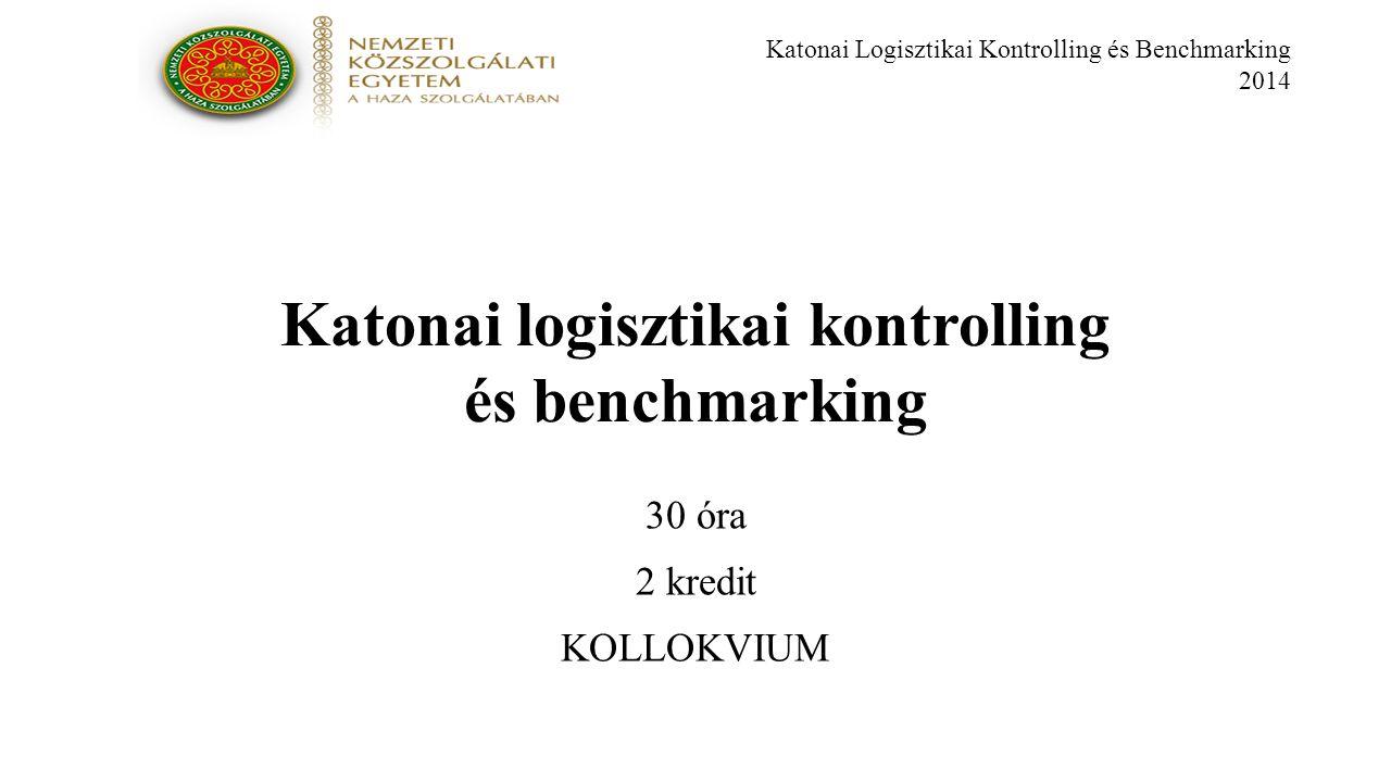 Katonai Logisztikai Kontrolling és Benchmarking 2014 Katonai logisztikai kontrolling és benchmarking 30 óra 2 kredit KOLLOKVIUM