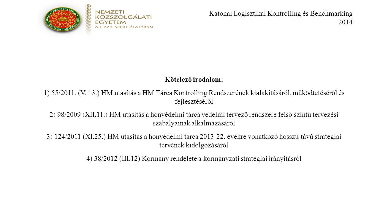 Katonai Logisztikai Kontrolling és Benchmarking 2014 Kötelező irodalom: 1) 55/2011.