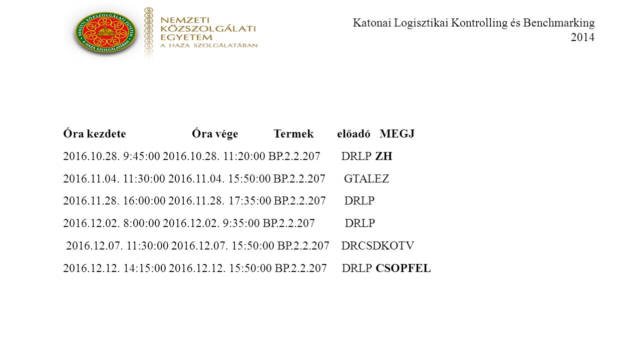 Katonai Logisztikai Kontrolling és Benchmarking 2014 Óra kezdete Óra vége Termek előadó MEGJ 2016.10.28.