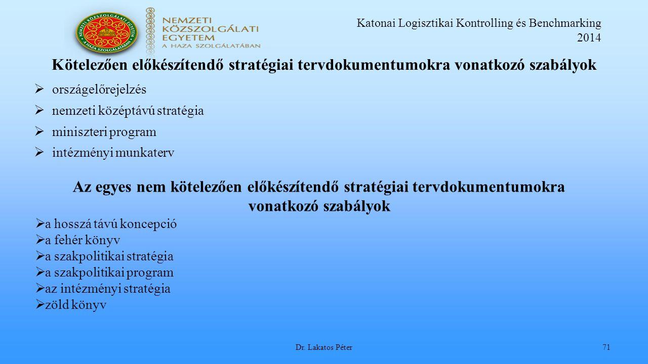 Katonai Logisztikai Kontrolling és Benchmarking 2014 Dr.