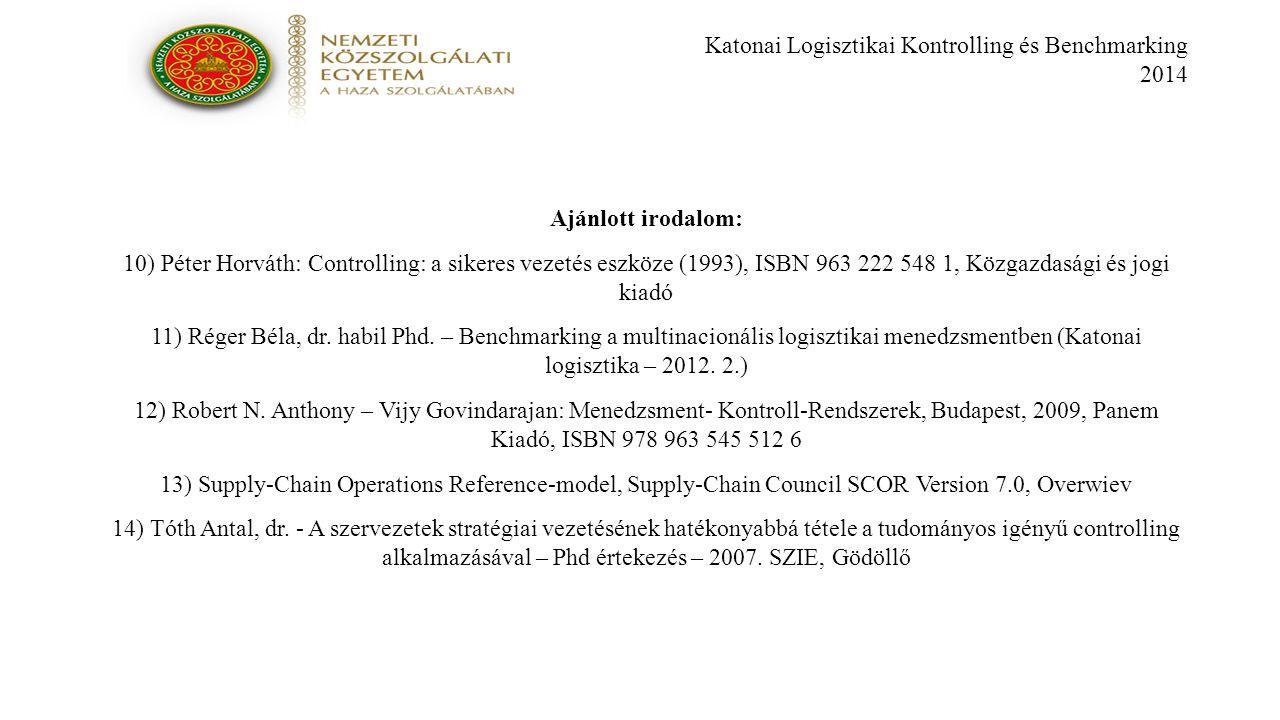 Katonai Logisztikai Kontrolling és Benchmarking 2014 Ajánlott irodalom: 10) Péter Horváth: Controlling: a sikeres vezetés eszköze (1993), ISBN 963 222 548 1, Közgazdasági és jogi kiadó 11) Réger Béla, dr.