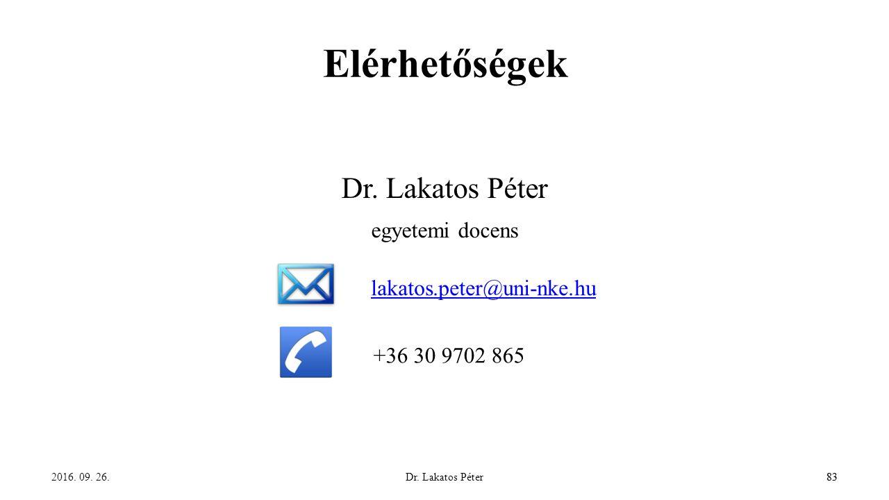 Dr. Lakatos Péter83 Elérhetőségek Dr. Lakatos Péter egyetemi docens 2016.