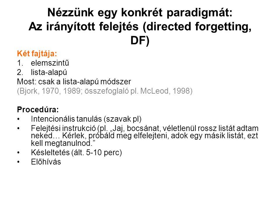 Nézzünk egy konkrét paradigmát: Az irányított felejtés (directed forgetting, DF) Két fajtája: 1.elemszintű 2.lista-alapú Most: csak a lista-alapú módszer (Bjork, 1970, 1989; összefoglaló pl.
