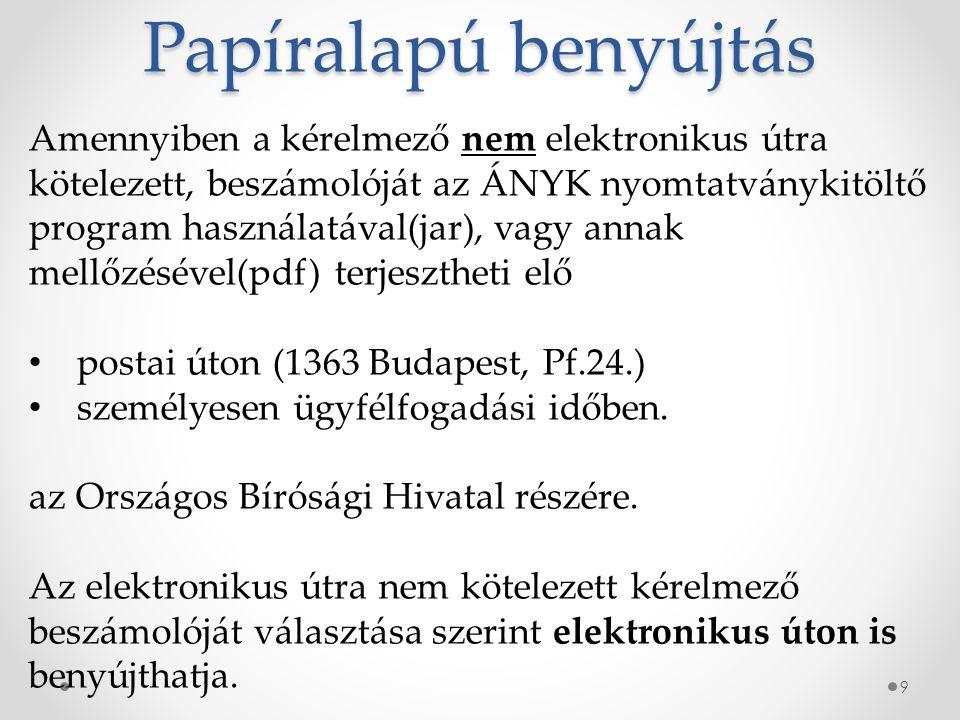 Papíralapú benyújtás 9 Amennyiben a kérelmező nem elektronikus útra kötelezett, beszámolóját az ÁNYK nyomtatványkitöltő program használatával(jar), vagy annak mellőzésével(pdf) terjesztheti elő postai úton (1363 Budapest, Pf.24.) személyesen ügyfélfogadási időben.
