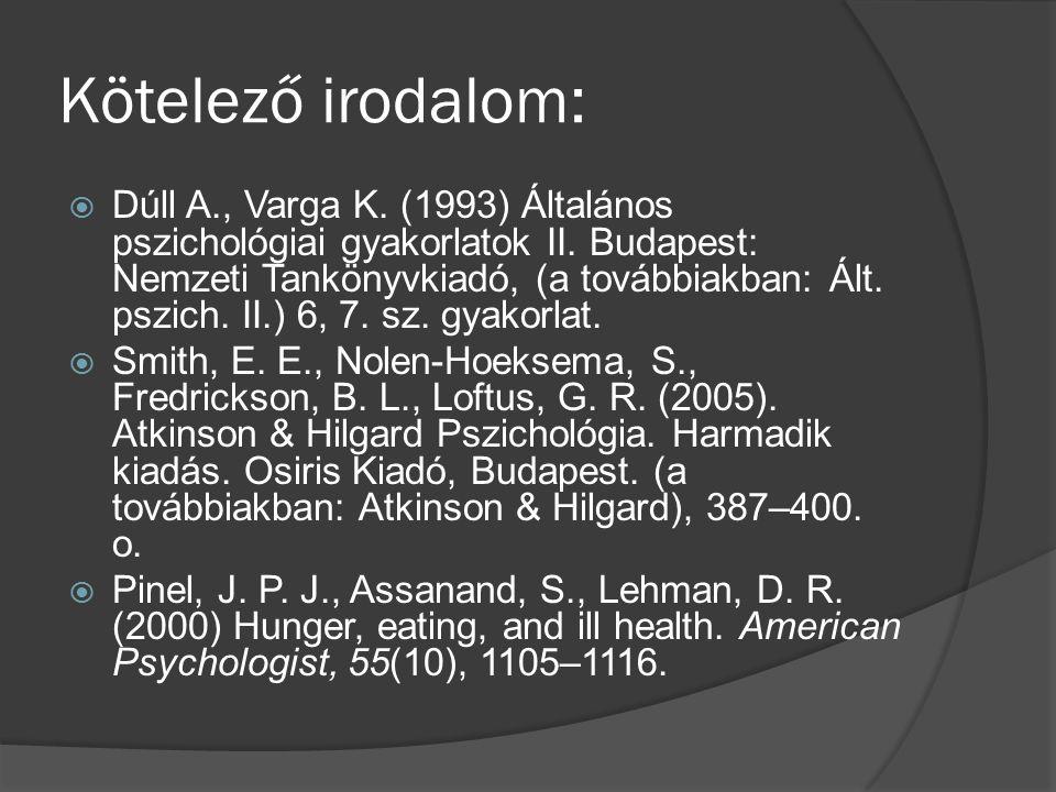 Kötelező irodalom:  Dúll A., Varga K. (1993) Általános pszichológiai gyakorlatok II.