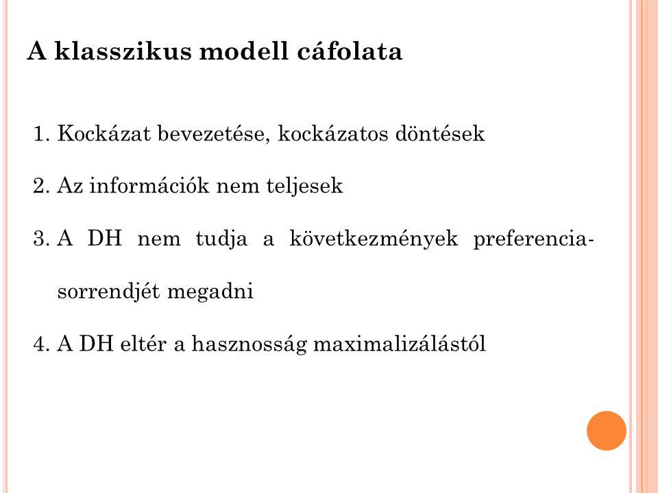 A klasszikus modell cáfolata 1.Kockázat bevezetése, kockázatos döntések 2.Az információk nem teljesek 3.A DH nem tudja a következmények preferencia- sorrendjét megadni 4.A DH eltér a hasznosság maximalizálástól