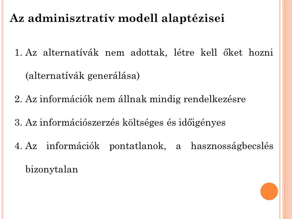 Az adminisztratív modell alaptézisei 1.Az alternatívák nem adottak, létre kell őket hozni (alternatívák generálása) 2.Az információk nem állnak mindig rendelkezésre 3.Az információszerzés költséges és időigényes 4.Az információk pontatlanok, a hasznosságbecslés bizonytalan