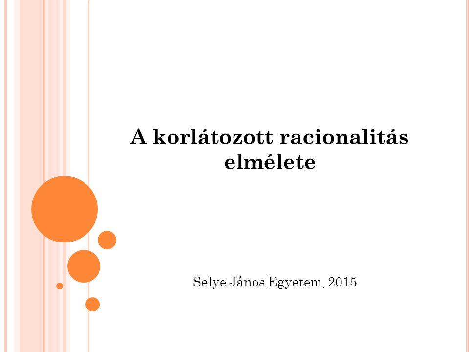 A korlátozott racionalitás elmélete Selye János Egyetem, 2015