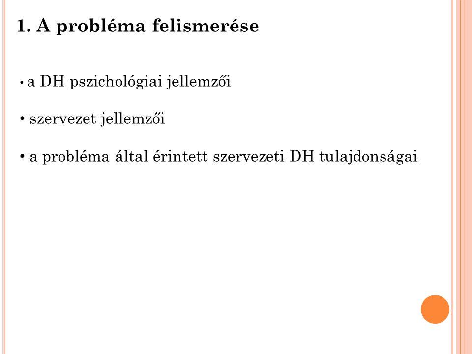 1. A probléma felismerése a DH pszichológiai jellemzői szervezet jellemzői a probléma által érintett szervezeti DH tulajdonságai