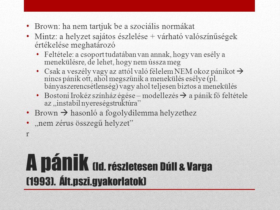 A pánik (ld. részletesen Dúll & Varga (1993).