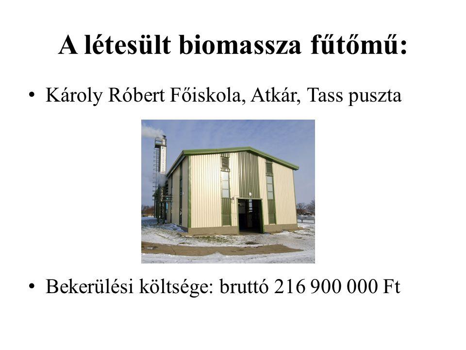 A létesült biomassza fűtőmű: Károly Róbert Főiskola, Atkár, Tass puszta Bekerülési költsége: bruttó 216 900 000 Ft