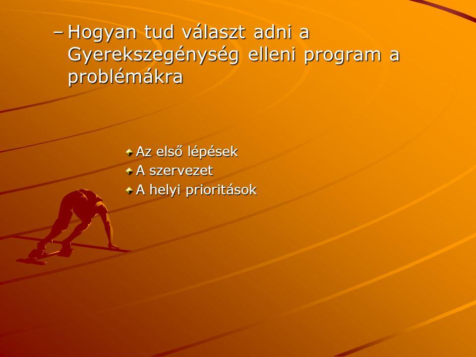 –Hogyan tud választ adni a Gyerekszegénység elleni program a problémákra Az első lépések A szervezet A helyi prioritások