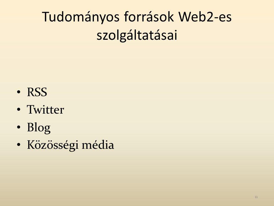 Tudományos források Web2-es szolgáltatásai RSS Twitter Blog Közösségi média 11