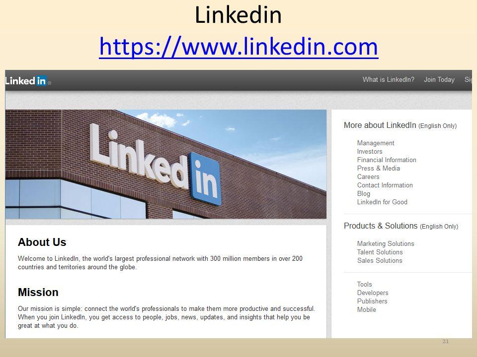 Linkedin https://www.linkedin.com https://www.linkedin.com 21