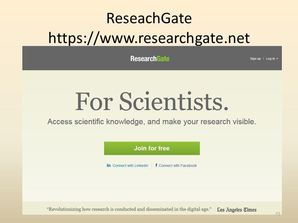 ReseachGate https://www.researchgate.net 25