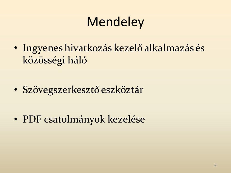 Mendeley Ingyenes hivatkozás kezelő alkalmazás és közösségi háló Szövegszerkesztő eszköztár PDF csatolmányok kezelése 30