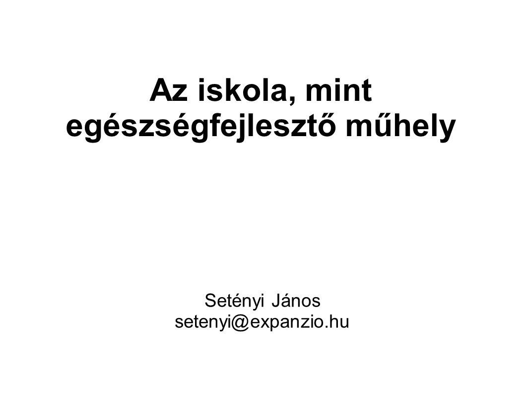 Az iskola, mint egészségfejlesztő műhely Setényi János setenyi@expanzio.hu