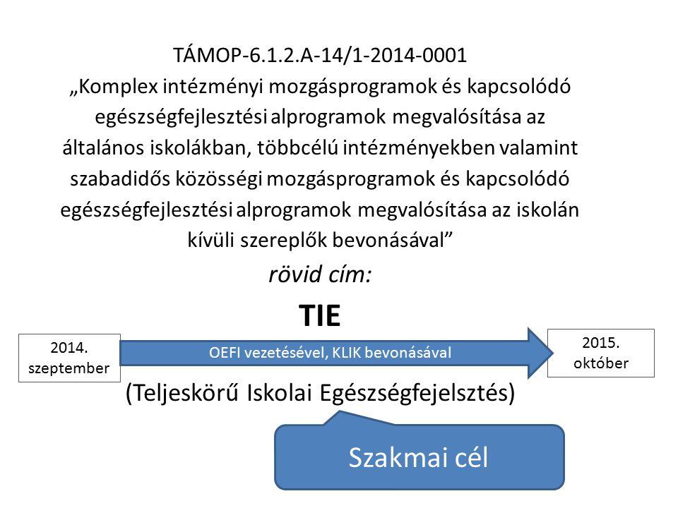 """TÁMOP-6.1.2.A-14/1-2014-0001 """"Komplex intézményi mozgásprogramok és kapcsolódó egészségfejlesztési alprogramok megvalósítása az általános iskolákban, többcélú intézményekben valamint szabadidős közösségi mozgásprogramok és kapcsolódó egészségfejlesztési alprogramok megvalósítása az iskolán kívüli szereplők bevonásával rövid cím: TIE (Teljeskörű Iskolai Egészségfejelsztés) 2014."""