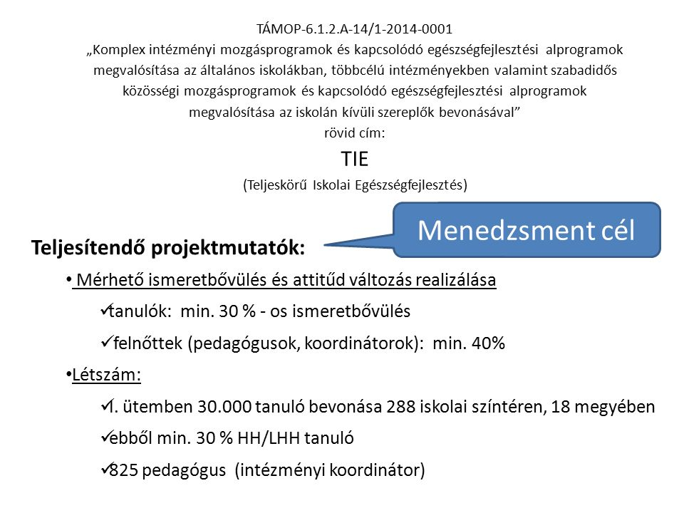 """TÁMOP-6.1.2.A-14/1-2014-0001 """"Komplex intézményi mozgásprogramok és kapcsolódó egészségfejlesztési alprogramok megvalósítása az általános iskolákban, többcélú intézményekben valamint szabadidős közösségi mozgásprogramok és kapcsolódó egészségfejlesztési alprogramok megvalósítása az iskolán kívüli szereplők bevonásával rövid cím: TIE (Teljeskörű Iskolai Egészségfejlesztés) EGÉSZSÉGFEJLESZTÉSI MÓDSZERTANI ALPROJEKT EGÉSZSÉGFEJLESZTÉSI PROGRAMELEMEKHEZ SZAKMAI AJÁNLÁSOK (EPSZA) Kárpáti Tímea OEFI Teljesítendő projektmutatók: Mérhető ismeretbővülés és attitűd változás realizálása tanulók: min."""