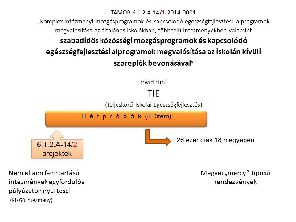 """TÁMOP-6.1.2.A-14/1-2014-0001 """"Komplex intézményi mozgásprogramok és kapcsolódó egészségfejlesztési alprogramok megvalósítása az általános iskolákban, többcélú intézményekben valamint szabadidős közösségi mozgásprogramok és kapcsolódó egészségfejlesztési alprogramok megvalósítása az iskolán kívüli szereplők bevonásával rövid cím: TIE (Teljeskörű Iskolai Egészségfejlesztés) Kárpáti Tímea OEFI H é t p r ó b á k (II."""