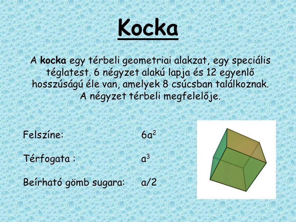 Kocka A kocka egy térbeli geometriai alakzat, egy speciális téglatest. 6 négyzet alakú lapja és 12 egyenlő hosszúságú éle van, amelyek 8 csúcsban talá