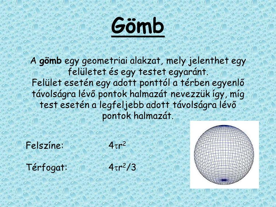 Gömb A gömb egy geometriai alakzat, mely jelenthet egy felületet és egy testet egyaránt. Felület esetén egy adott ponttól a térben egyenlő távolságra
