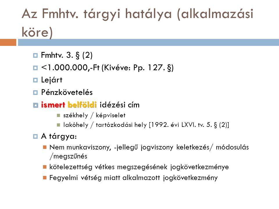 Az Fmhtv. tárgyi hatálya (alkalmazási köre)  Fmhtv.