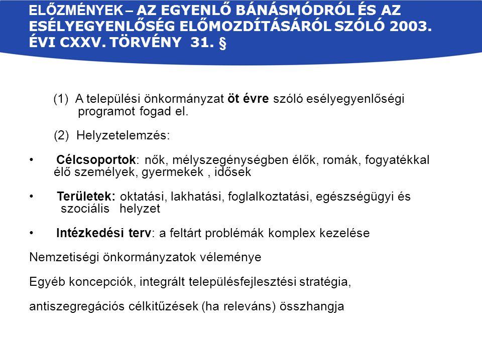 ELŐZMÉNYEK – AZ EGYENLŐ BÁNÁSMÓDRÓL ÉS AZ ESÉLYEGYENLŐSÉG ELŐMOZDÍTÁSÁRÓL SZÓLÓ 2003.
