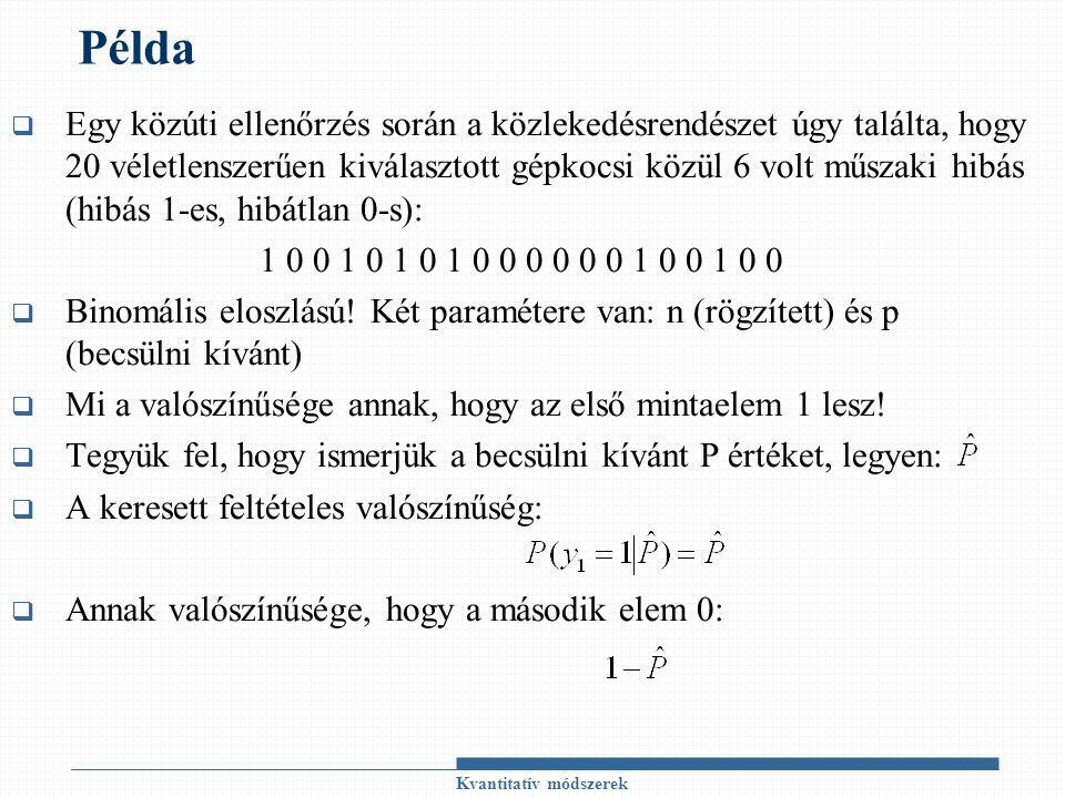 Példa  Egy közúti ellenőrzés során a közlekedésrendészet úgy találta, hogy 20 véletlenszerűen kiválasztott gépkocsi közül 6 volt műszaki hibás (hibás 1-es, hibátlan 0-s): 1 0 0 1 0 1 0 1 0 0 0 0 0 0 1 0 0 1 0 0  Binomális eloszlású.