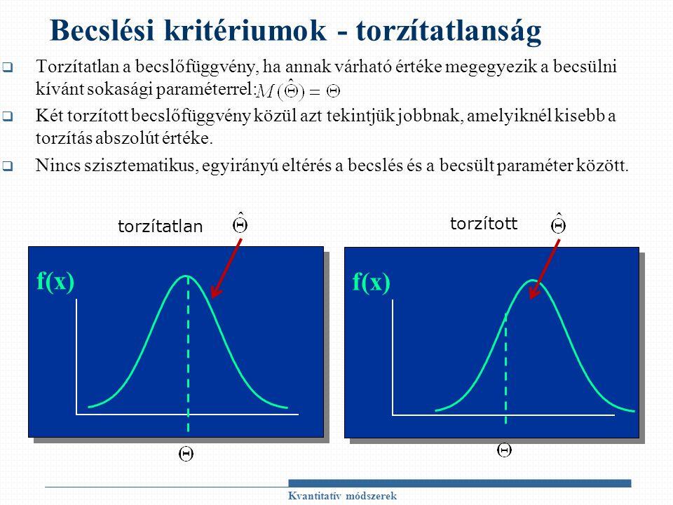 Becslési kritériumok - torzítatlanság  Torzítatlan a becslőfüggvény, ha annak várható értéke megegyezik a becsülni kívánt sokasági paraméterrel:  Két torzított becslőfüggvény közül azt tekintjük jobbnak, amelyiknél kisebb a torzítás abszolút értéke.